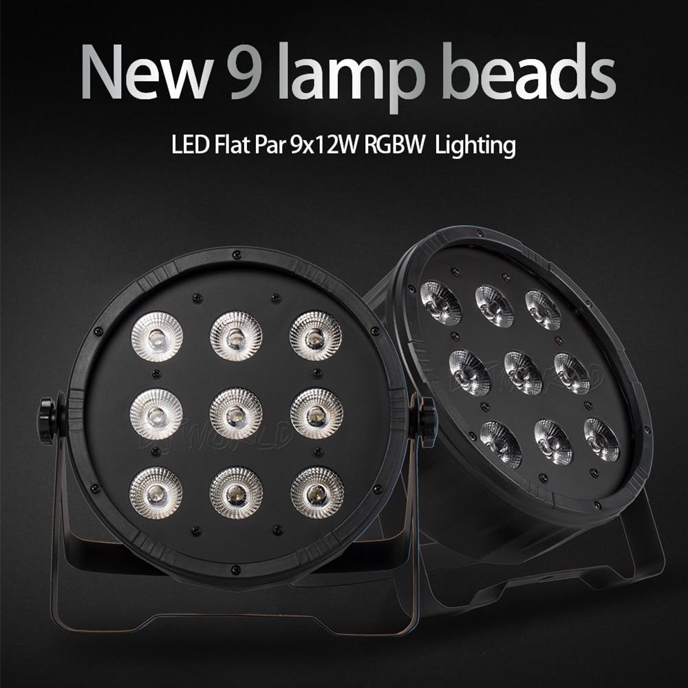 LED Flat Par 9x12W RGBW 4in1 Color Lighting DMX512 For Atmosphere Of Disco DJ Music Party Club Dance Floor BAR Darkening Effect
