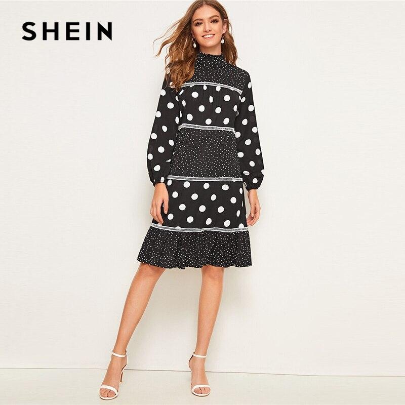 SHEIN Black Frill Stand Collar Polka Dot Ruffle Hem Dress Women 2019 Autumn Long Sleeve High Waist Elegant Knee Length Dresses