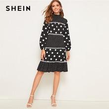 SHEIN الأسود الرتوش الوقوف طوق البولكا نقطة كشكش تنحنح اللباس المرأة 2019 الخريف طويل الأكمام عالية الخصر أنيقة الركبة طول فساتين