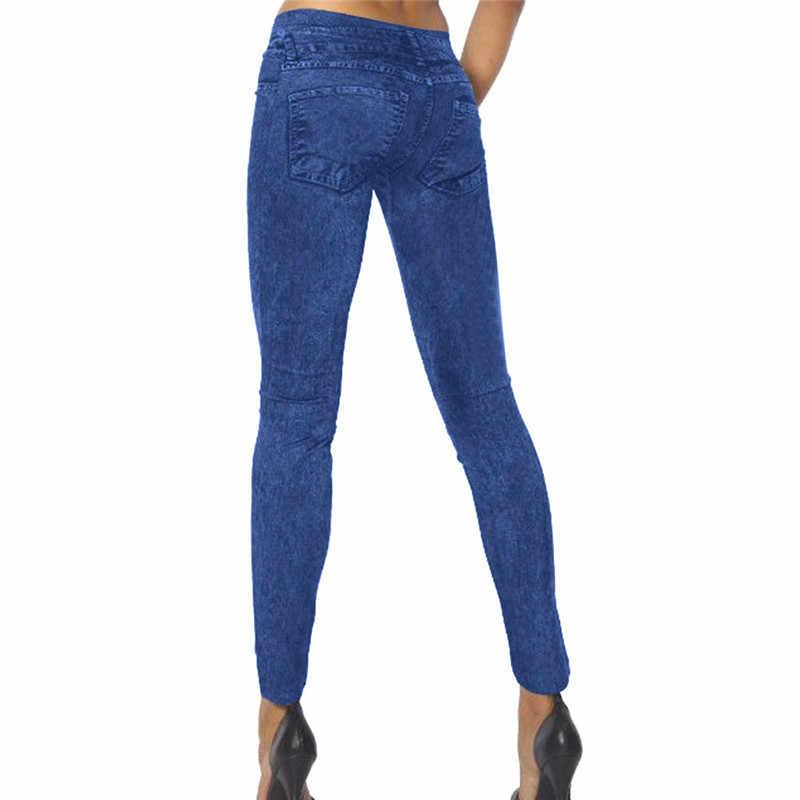 2019 moda kadın pantolon rahat koşu pantolon yüksek bel elastik taklit denim streç katı tayt pantalones mujer