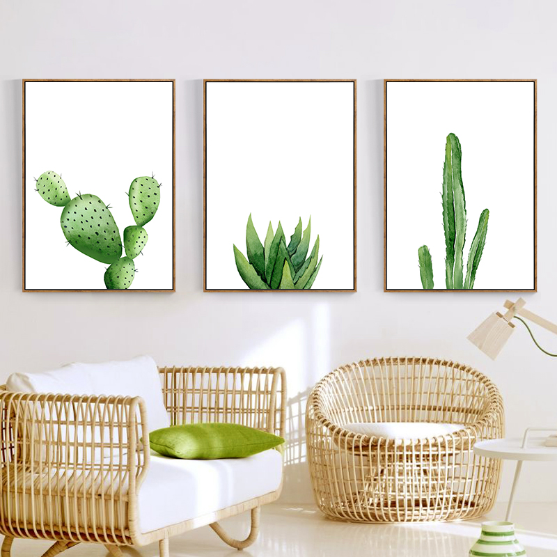 Watercolor cactus Wall Art Canvas Painting Posters and Prints Decorative Pictures Living Room Decor ,no frame drawer