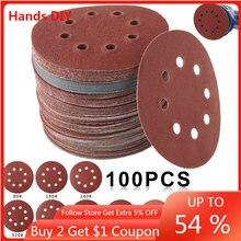 Disques de ponçage de forme ronde, 100mm, 125 pièces, feuille de ponçage avec boucle à crochet, tampon de polissage pour ponceuse à 8 trous