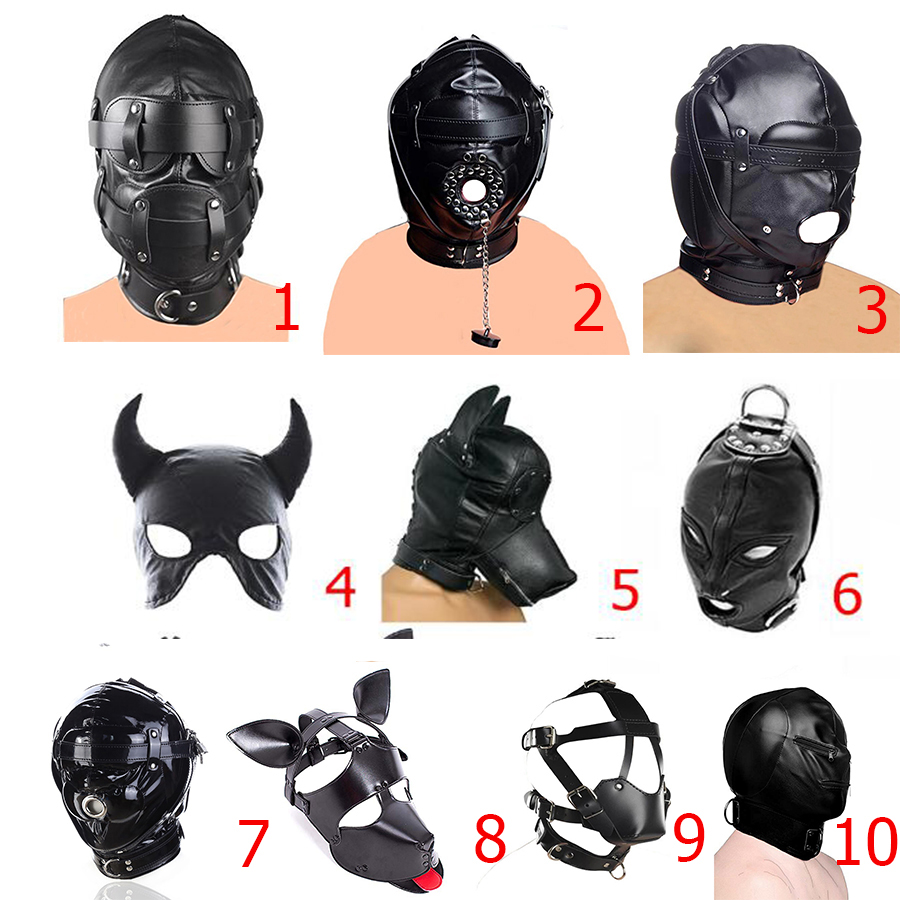 SM Leather Padded Hood Blindfold,Head Harness Mask, BDSM Bondage Headgear,Cosplay Sex Toys , Erotic Accessories