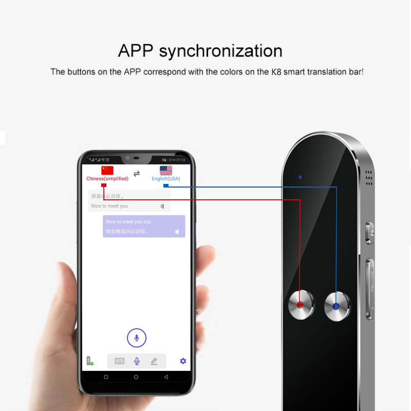 K8 Smart Voice Translator 40 Multi-Language Translation Two-Way Real Time Translation For Learning Travelling Business Meeting image