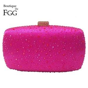 Image 1 - Женский вечерний кошелек Boutique De FGG, ярко розовый клатч минодьер с кристаллами фуксии и стразами, Свадебный клатч на цепочке