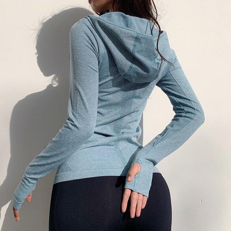 Купить куртка для бега женская толстовка рубашки йоги спортивная одежда