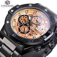 Forsining Racing Car Mechanical Watch Automatic Mens Sport Yellow 3 Sub Dial Date Calendar Luminous Hour Steel Band Reloj Hombre