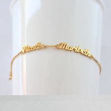 Custom Name Bracelets Double Names Bracelets For Women Gold Chain stainless steel jewelry two Nameplate Silver Jewelry BFF цена