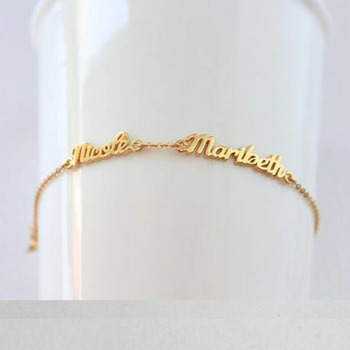 Custom Name Bracelets Double Names Bracelets For Women Gold Chain stainless steel jewelry two Nameplate Silver Jewelry BFF mantis boxing double peg stainless steel wushu weapon accept custom