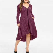 Women Dress Cardigan Plus Size Pockets Zip up Tunic Sweatshirt Long Hoodie Dress 2019 Spring Autumn Casual Dress Vestidos 7(China)