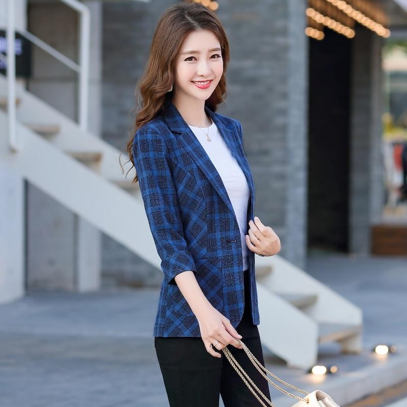 Slim Jacket with Two Pockets 3/4 sleeve Women Elegant Blazer Fashion Work Wear Office Lady Coat Outwear