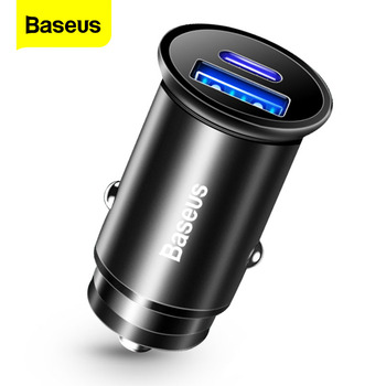Baseus Metal Quick Charge USB Car Charger For iPhone Xiaomi Huawei QC4.0 QC3.0 VOOC Auto Type C PD Fast Car Mobile Phone Charger baseus usb car charger quick charge 4 0 3 0 qc4 0 qc3 0 qc scp 5a type c pd fast car usb charger for iphone xiaomi mobile phone