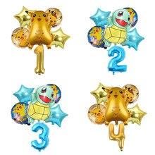 5 pçs série pokemon pikachu jenny tartaruga balão de alumínio crianças número balões festa de aniversário decoração balão conjunto
