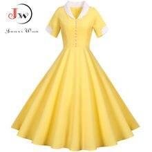 2021 frauen Vintage Schlank Sommer Kleid Solide Gelb Kurzarm Hohe Taille Elegante Büro Party Midi Sommerkleid Klassische Robe Femme