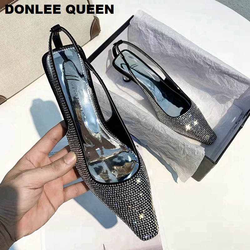 Crystal Thin High Heels Slingbacks Sandals Women Rhinestone Shoes For Party Dress Shoes Woman Sexy Pointy Toe Mules  Shoes Mujer