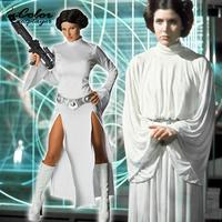 Color Cosplayer STAR WARS Princess Leia Organa Cosplay Costume White Dress Solo Dresses Belt Adult Purim Carnival Sets