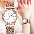 OLEVS  прямые поставки с фабрики  популярные модели  женские кварцевые часы  водонепроницаемые  розовое золото  с сетчатым ремешком  женские ро...