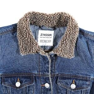 Image 5 - Herbst Winter oversize Frauen Denim Jacke Künstliche Sherpa Futter Langarm 100% Baumwolle Gewaschen Blau Weibliche Dame Mantel