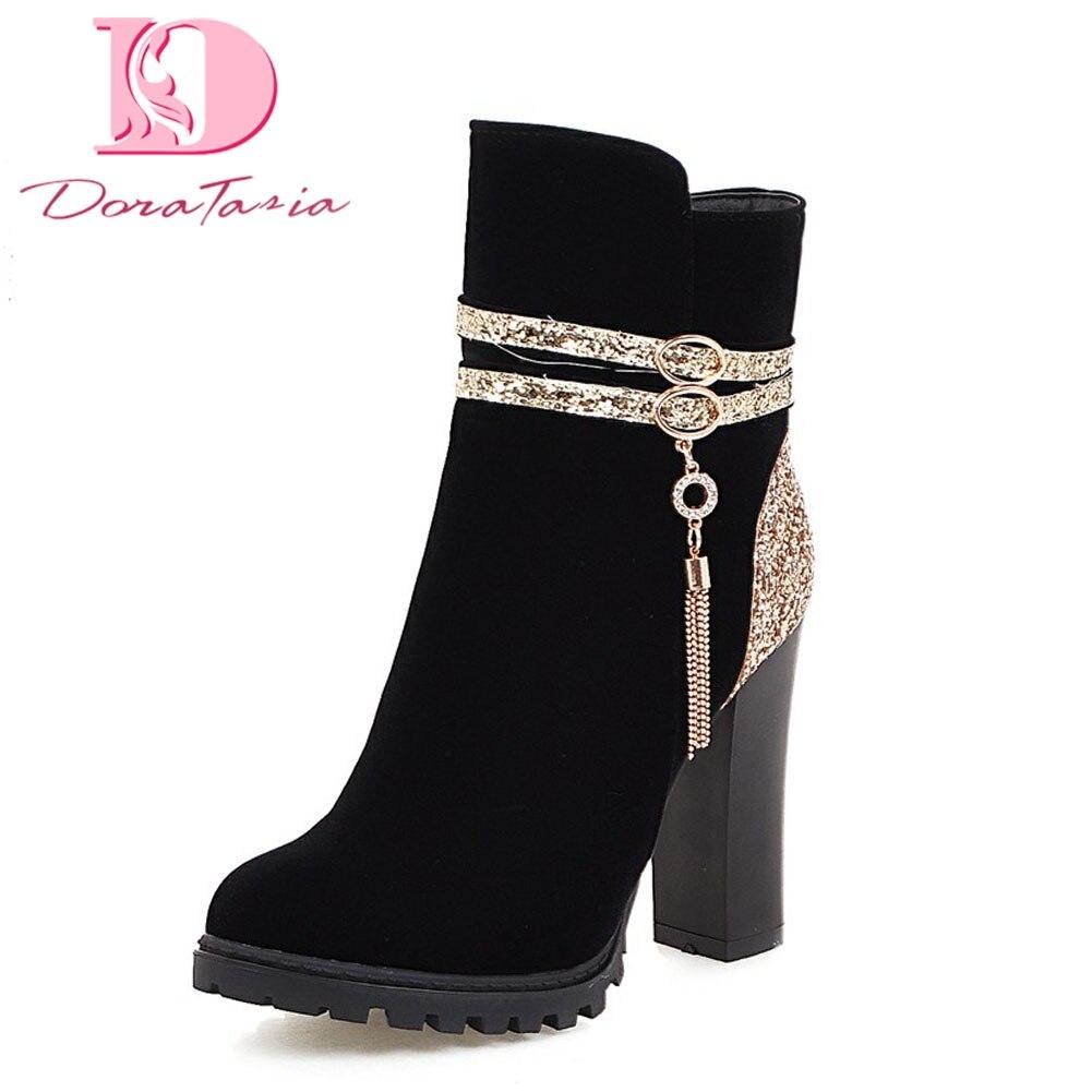 Doratasia/ботильоны наивысшего качества, большие размеры женская обувь женские пикантные вечерние туфли на высоком каблуке и платформе женские