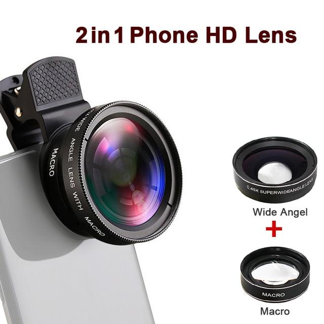 プロ HD 電話カメラレンズ 0.45X 49UV 超広角 12.5X マクロレンズユニバーサルクリップ 2 で 1 キットのための iPhone スマートフォン