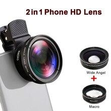 Lente profesional para cámara de teléfono HD 0.45X 49UV lente Macro gran angular 12,5x Clip Universal 2 en 1 Kit para teléfonos inteligentes iPhone
