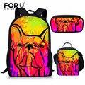 FORUDESIGNS/детские школьные сумки для бульдога чихуахуа  золотой ретривер  школьный рюкзак  набор для подростков  девочек  мальчиков  детская пл...