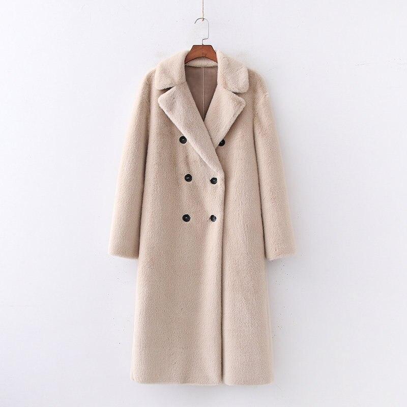 Casual creamy weiß frau lange gefälschte pelzmantel 2019 herbst-winter neue mode solide drehen-unten kragen damen mantel elegante outwear