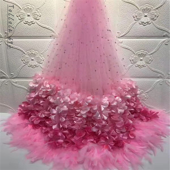 Pink Feather Nigerian French Lace Fabrics African Tulle Lace Fabric High Quality African Lace Wedding Fabric For Dress