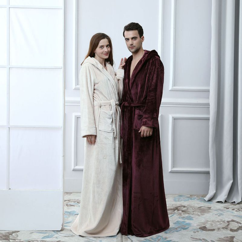 Extra Long épais chaud Kimono peignoir amoureux thermique à capuche peignoir Robes de demoiselle d'honneur Robe de chambre femmes hommes