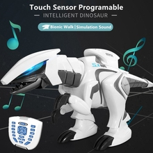 Intelligent Programable RC Dinosaur Bionic Walk Shake Head Swing Tail Simulate Roaring Touch Sensor Educational Entertain RC Toy