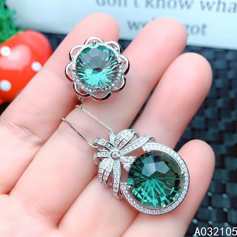 KJJEAXCMY fine jewelry 925 sterling silver inlaid Green Crystal women vintage fashion round big gem pendant ring set support det