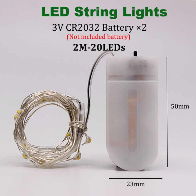 1-5 メートルの妖精ライト CR2032 バッテリー Led クリスマスライト銅線ストリングライト結婚式クリスマス花輪パーティー屋内