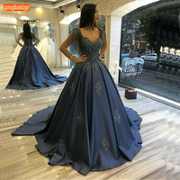 Fashion Dark Navy Evening Dresses Long Appliqued Beaded Lace Up Satin Party Formal Dress Women Pageant Custom Made Evening Gowns