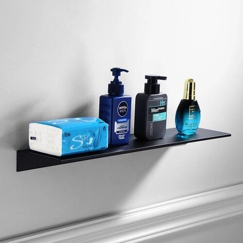 Wholesale Promotion Bathroom Accessories 30-60cm Nordic Black Bathroom Shelves Kitchen Wall Shelf Shower Bath Storage Rack