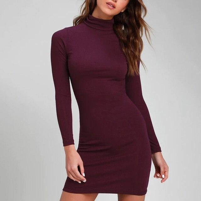 ZAATON®  Long sleeve  New stand collarsolid color sexy slim hip dress 1