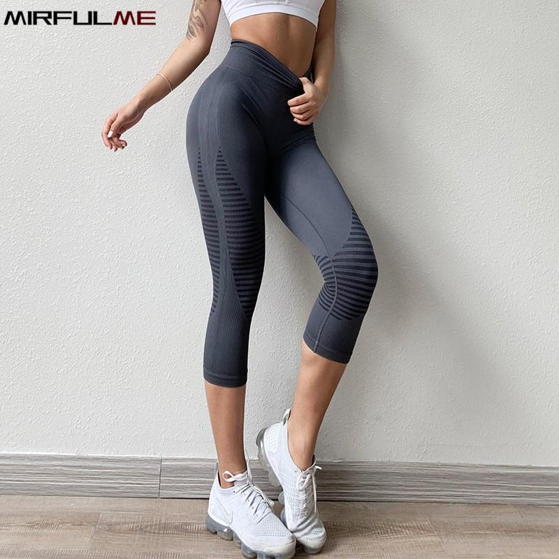 Леггинсы женские бесшовные с высокой талией, Спортивные укороченные штаны для йоги, эластичные капри в полоску, леггинсы для тренировок в с...