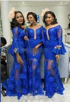 Royal Blue See Through Maid Of Honor prom party Gowns For Wedding Trumpet Custom Made Long Sleeves Mermaid Bridesmaid Dresses