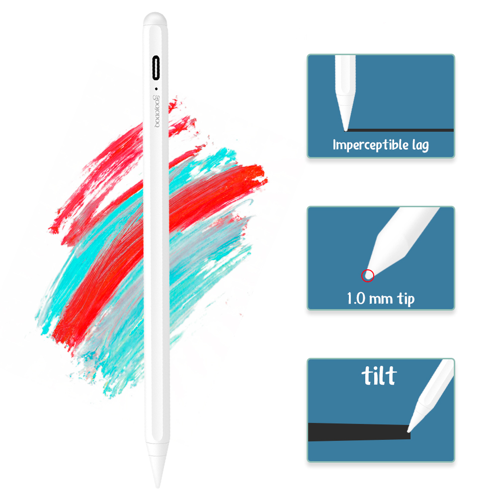 GOOJODOQ Stylus Pencil for iPad with Palm Rejection, Active Pencil Pen for Apple iPad 7th Gen 6th /Pro 3rd Gen Mini 5th /Air 3rd