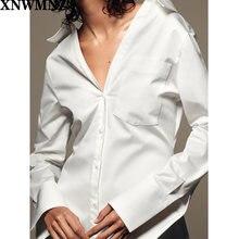Женская рубашка из поплина xnwmnz za асимметричный Топ с длинным