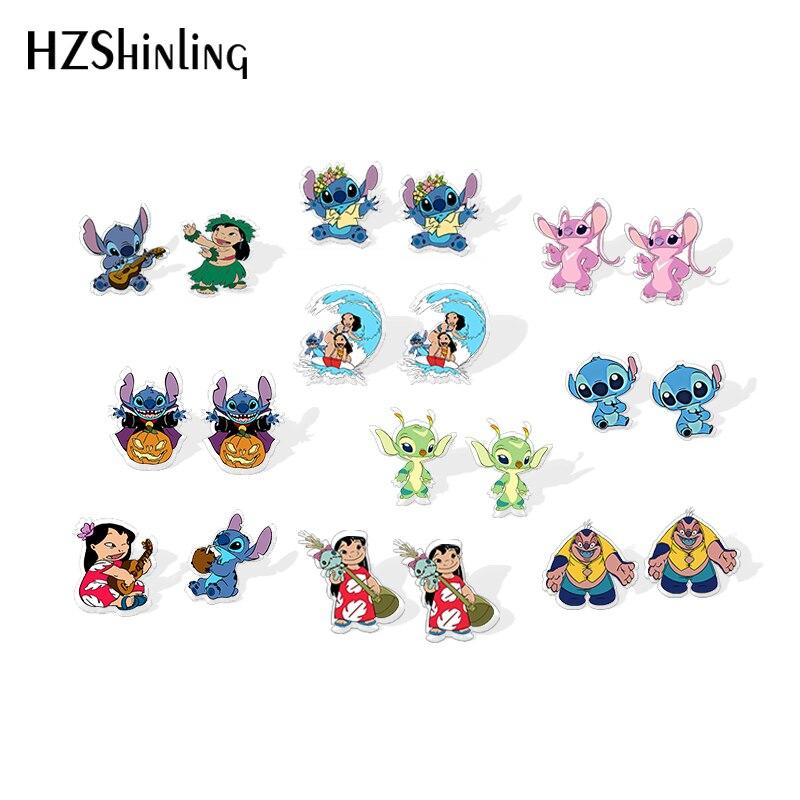 2019 New Cute Stitch Shrinky Dinks Earring Cartoon Alien Lilo Anime Epoxy Resin Earrings Acrylic Stud Earring