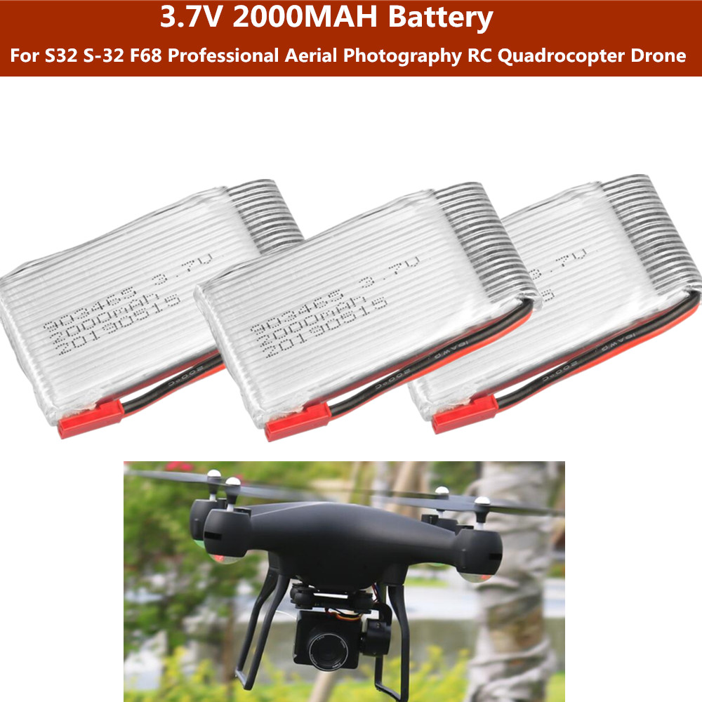 2PCS or 3PCS or 4PCS <font><b>3.7V</b></font> <font><b>2000mah</b></font> <font><b>battery</b></font> For S32 S-32 F68 Professional Aerial Photography RC Quadrocopter Drone parts image