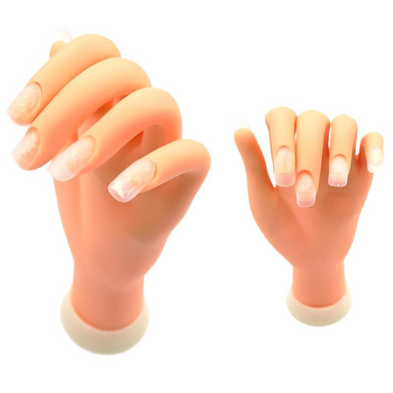 1Pcs Nail Training Hand Nail Art Practice Soft Plastic Model Hand Flexible Soft Plastic Flectional Mannequin Model Training Tool