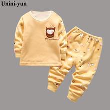 2 szt!! Gorąca sprzedaż maluch ubrania zestawy ubrań dla niemowląt Boys Baby sowa swetry wełniane topy długie spodnie 2 sztuk stroje zestaw ubrań tanie tanio Unini-yun Moda CN (pochodzenie) O-neck 16 5 COTTON Z wełny Unisex Pełna REGULAR Pasuje prawda na wymiar weź swój normalny rozmiar