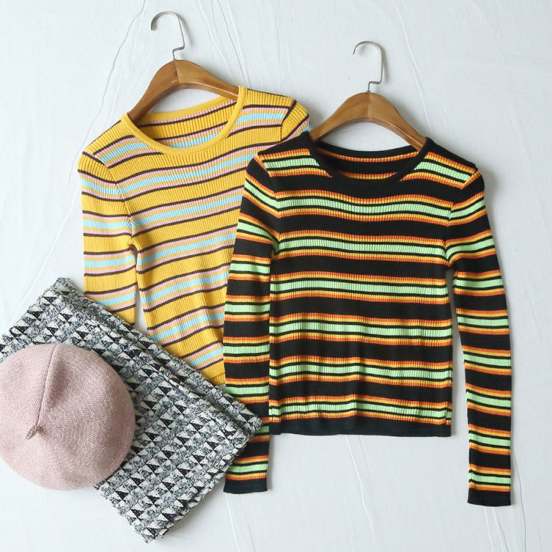 Autumn Winter Women Pullover Striped Knitted Long Sleeve Sweater Fashion Designer Casual Jumper Crewneck Long Sleeves Clothes