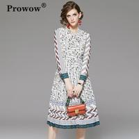 Prowow Elegant Chiffon Print Dress Women Long Sleeve Bow Neck High Elastic Waist Slim Spring Dresses Ladies Fashin Midi Dress