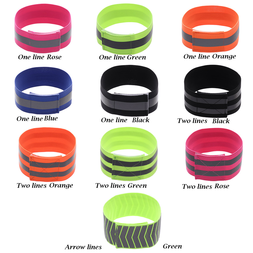 1pc Warning Wristband Safety Armband Bicycle Bind Pants Hand Leg Strap Reflective Tape Running Cycling Reflective Strips Outdoor