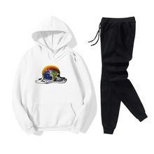 2pcs Set Women Earth Printed Hoodie Tops and Lace Uo Pants Sports Ladies Casual Baggy Sweatshirts Sportpants Tracksuits(China)