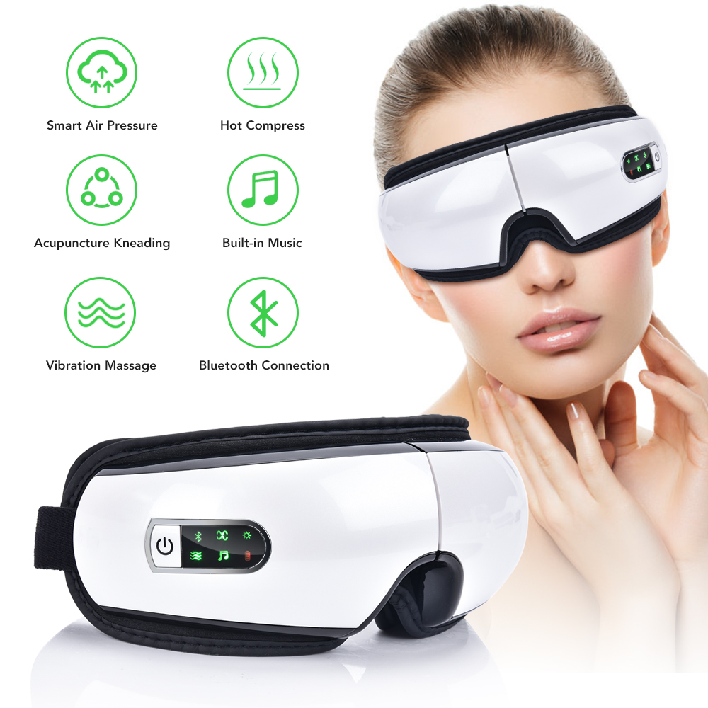 Smart USB Rechargeable Electric Eye Massager Air Pressure Hot Compress Massage Glasses Foldable Bluetooth Music Eyes Massage Car