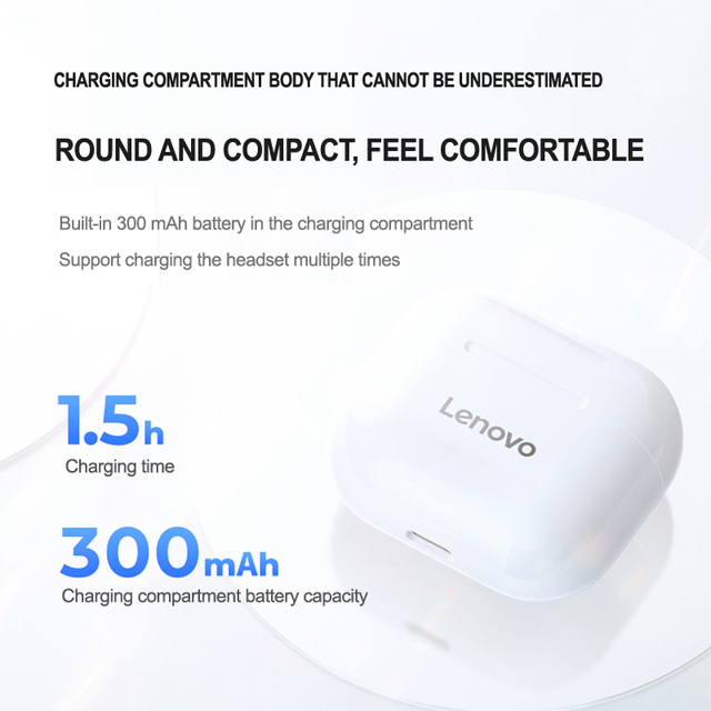 NEW Original Lenovo LP40 TWS Wireless Earphone Bluetooth 5.0 Dual Stereo Noise Reduction Bass Touch Control Long Standby 300mAH 3