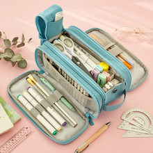 Angoo multi zona caneta lápis caso saco novidade slot net canetas titular alça de armazenamento bolsa organizador para papelaria escola a6434